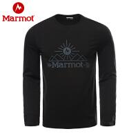 【书香节】Marmot/土拨鼠户外运动亲肤柔软轻量舒适男士长袖棉T恤