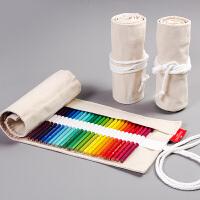 彩色铅笔帘帆布笔袋铅笔笔包工具初学者美术绘画用品50支64支76支装素描铅笔笔帘彩铅笔袋帆布笔帘