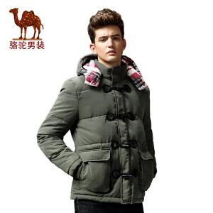 骆驼&熊猫联名系列男装 冬季棉服加厚纯色可脱卸帽休闲棉衣男