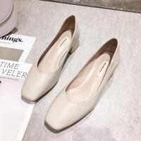 女鞋春秋单鞋2019软皮浅口仙女风高跟奶奶鞋粗跟方头工作鞋女 米白色 跟高4cm
