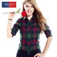 BRIOSO 女士格子衬衫 韩版秋装时尚百搭修身格子衬衣 大码女装 WE12095