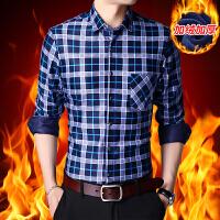 冬季新款加绒加厚保暖男衬衫休闲时尚男士保暖男装衬衣加厚潮