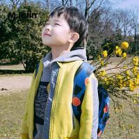 【2件2折后到手价:99.8元】马拉丁童装男童夹克春秋时尚撞色线条拼接儿童棒球服外套