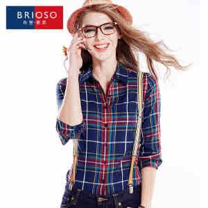 BRIOSO 女士纯棉格子衬衫 秋装新款韩版百搭时尚修身长袖衬衫 大码基础女装衬衣 WE2195