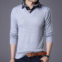 【限量抢购,好质量】 春秋季大码男士针织衫休闲假两件长袖T恤加大码潮毛衣男装打底衫