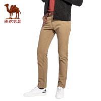 骆驼男装 2017秋季新款小脚男士休闲长裤纯色简约男裤子