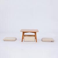 当当优品 橙舍简约竹家具创意日式榻榻米小茶几休闲方桌飘窗矮桌子边角几 带坐垫