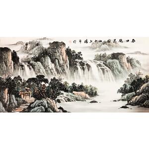 杨平《观瀑图》著名画家