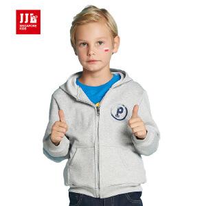 jjlkids季季乐童装男童针织外套中大童春秋季长袖连帽上衣拉链衫BQW61036