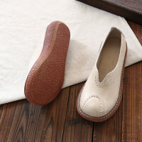 森系复古做旧大头娃娃鞋浅口低帮厚底百搭休闲鞋妈妈牛筋软底单鞋 米白 大半码