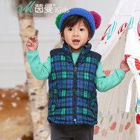【秒杀价:81.6元】茵曼童装冬季新款中小男童背心马甲拉链格子休闲上衣【3874123019】