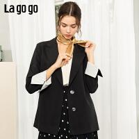 Lagogo2019冬季新款韩版纯色小西装优雅外套女上衣ICWW339G87