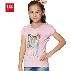 jjlkids季季乐童装女童夏季清凉透气休闲圆领T恤中大童薄款