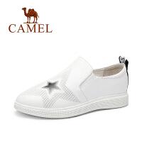 Camel/骆驼女鞋 秋季新品卡通印花休闲平底圆头单鞋乐福鞋