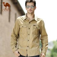 CAMEL骆驼男装 秋新款纯色棉质男士长袖衬衫 休闲衬衫韩版潮流