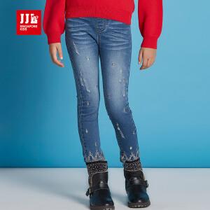 jjlkids季季乐儿童牛仔裤女童裤子松紧裤腰春秋款长裤GQK61229