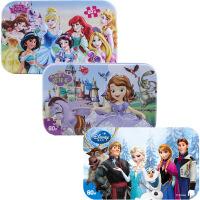 【当当自营】迪士尼拼图玩具 60片铁盒木质拼图三合一(公主2261+苏菲亚2265+冰雪奇缘2391)