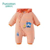 全棉时代 橙白条婴儿针织厚款带帽兔耳连体衣66/44, 1件装