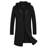 2018秋冬季男士韩版中长款连帽羊绒大衣青少年外套男双面呢风衣 黑色