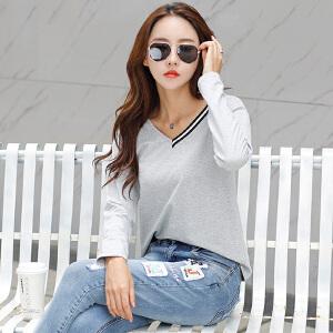 2017秋季韩版V领白色长袖t恤女装简约打底衫修身体恤百搭棉质上衣