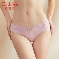 【2件3折后价:41元】欧迪芬 2021春夏新品性感蕾丝轻薄透气舒适女士中腰内裤XP1201