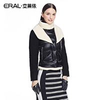 ERAL/艾莱依冬季羊羔毛机车夹克保暖修身羽绒服女短款羽绒衣2042D