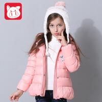 小猪班纳童装女童连帽羽绒服短款2017冬装新款儿童保暖加厚外套