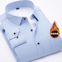 保暖衬衫男加绒加厚冬季长袖修身寸衫冬季格子衬衣男装