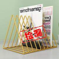 书架桌面收纳整理架办公室置物架铁艺金属简易ins杂志桌上小书架