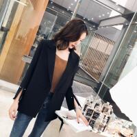 韩国2017春秋新款休闲西服女士中长款长袖宽松百搭小西装女外套女 黑色 拍下年后发