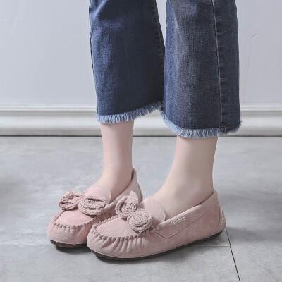 2019豆豆鞋女春秋季韩版百搭学生防滑软底孕妇平底单鞋子 慕粉色 单鞋