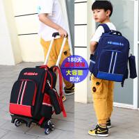 小学生拉杆书包男孩1-3-6年级大容量儿童防水拖拉背两用可爬楼梯5