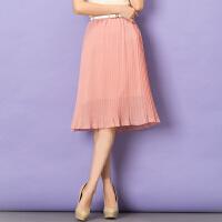 特尚莱菲 半身裙夏新款大码女装中裙显瘦雪纺裙松紧腰中长裙子 WWH3080