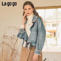 Lagogo2019年秋季新款单排扣短外套蓝灰女插肩袖雪纺装饰腰带上衣