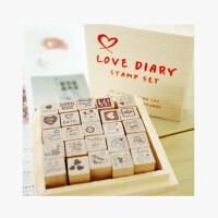 LOVE木制儿童彩色印台印章无印泥DIY日记+木盒25枚