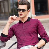 2018新款男士长袖t恤翻领不规则商务休闲纯色polo衫男体恤