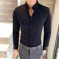 衬衫男学生秋季新款衬衫男长袖韩版修身潮流商务帅气男士纯色休闲白衬衣