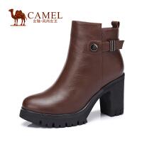 Camel/骆驼女鞋 时尚 油蜡牛皮圆头 高跟侧拉链粗跟女短靴