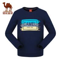 camel小骆驼童装2017秋季儿童微弹印花圆领卫衣男女童套头加厚打底T恤