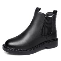 2018秋冬平底短靴女切尔西女靴子裸靴保暖羊毛马丁靴女鞋 黑色 纯羊毛内里