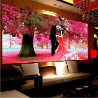菲绣精准印花3d十字绣画 樱花树下的婚礼结婚喜庆爱情卧室情侣挂画 只需绣人物