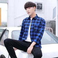 衬衫男学生男士格子衬衣秋冬长袖衬褂青少年学生韩版修身潮流棉上衣男式衬衫