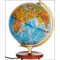 博目地球仪:25cm地形政区中、英文灯光地球仪(木座合金架)