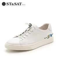 【领券减150】星期六男鞋(ST&SAT)专柜同款牛皮学院风平底系带运动休闲鞋SS81128132