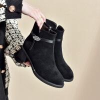19珂卡芙冬季新款【金属配饰】复古粗跟短靴时装靴袜靴舒适女靴
