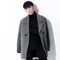 毛呢外套男2018新款修身中长款韩版潮流休闲加厚羊毛绒呢子大衣男 灰色