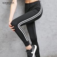 【到手价79】Kombucha瑜伽长裤2018新款吸汗速干透气条纹弹力显瘦健身跑步长裤JCCK8818