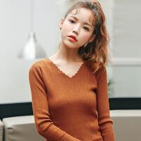 2017秋冬新品韩版修身显�C百搭套头V领长袖打底衫女士针织衫毛衣