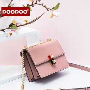 【支持礼品卡】DOODOO 小方包女包2018新款潮女韩版百搭简约链条斜挎包夏天小包包 D7042