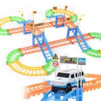 创意儿童轨道车玩具火车跑道百变拼装过山车赛车电动带小汽车男孩女孩礼品